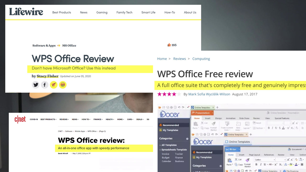 Assorted positive reviews of WPS Office