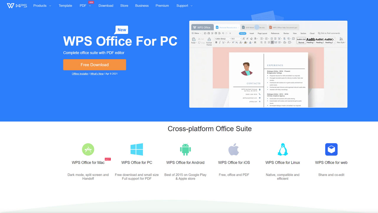 Image of WPS Office home screen