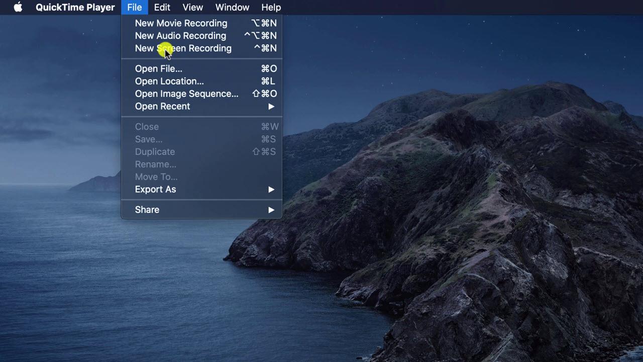 Image showing Quicktime Player file menu