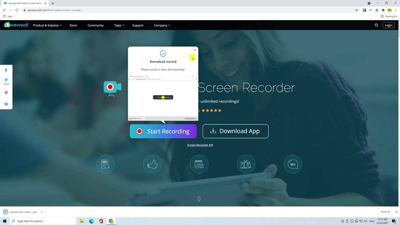 Image showing installation file for Apowersofts Free Online Screen Recorder