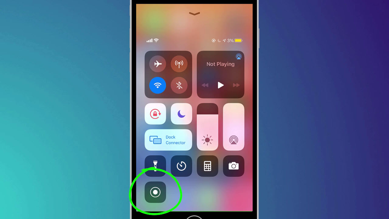 Image showing the screen recoder button in Control Center in iOS