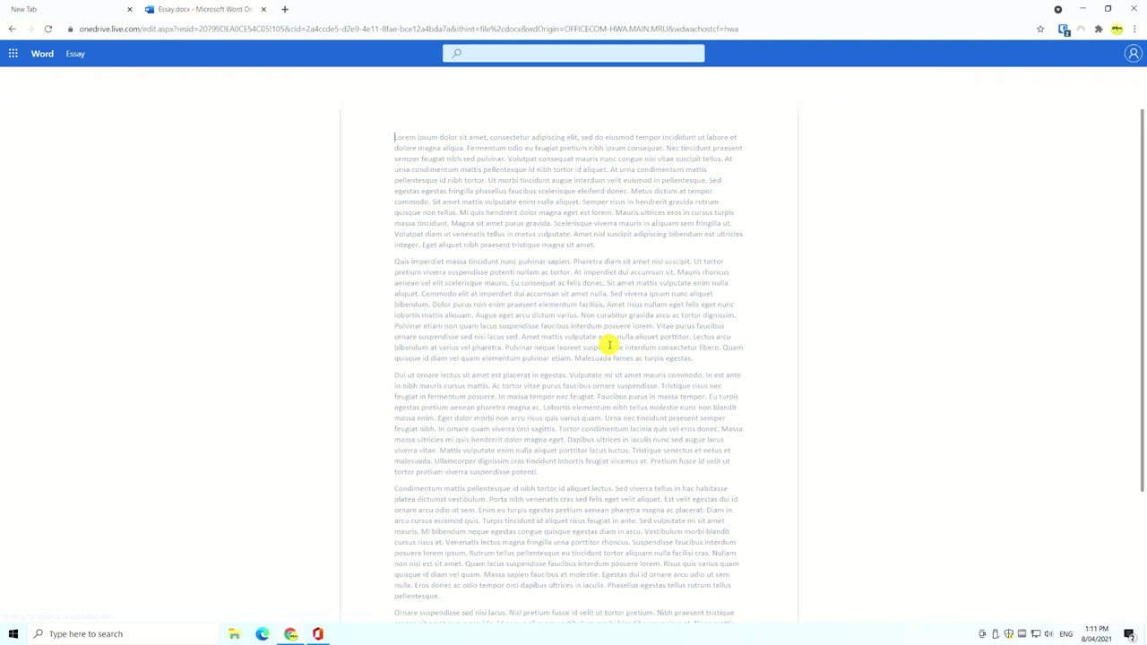 a word document being viewed in Edge