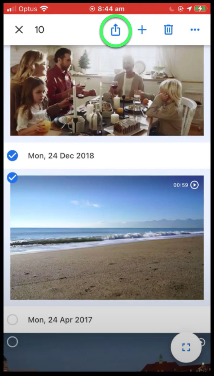 image of the share button on the Google Photos app