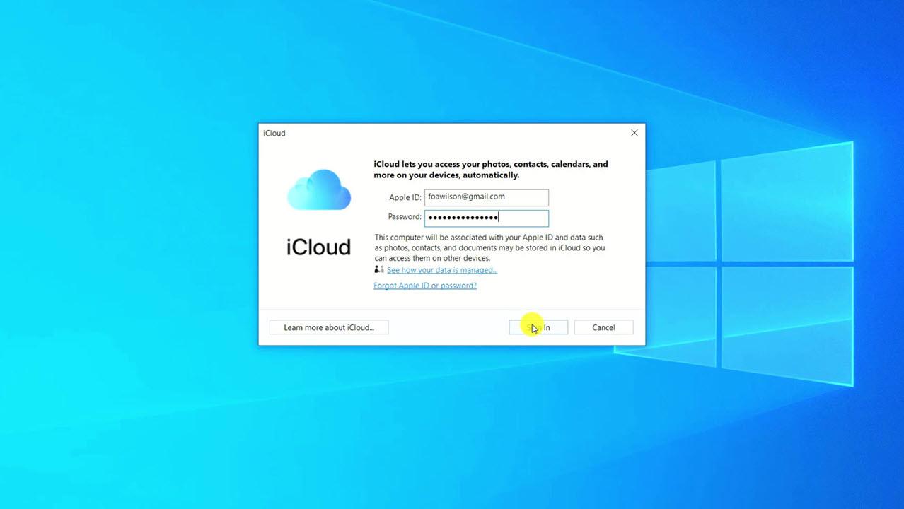 entering apple id in icloud app