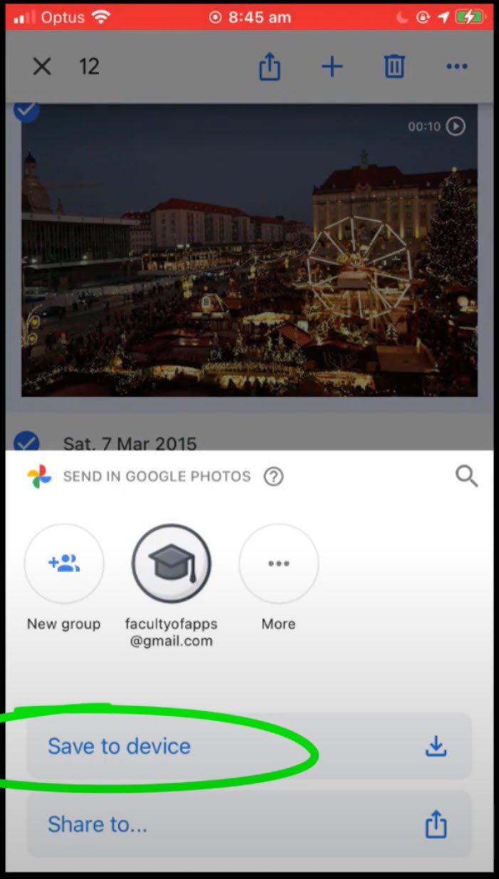 image displaying Save To Device option in Google Photos app