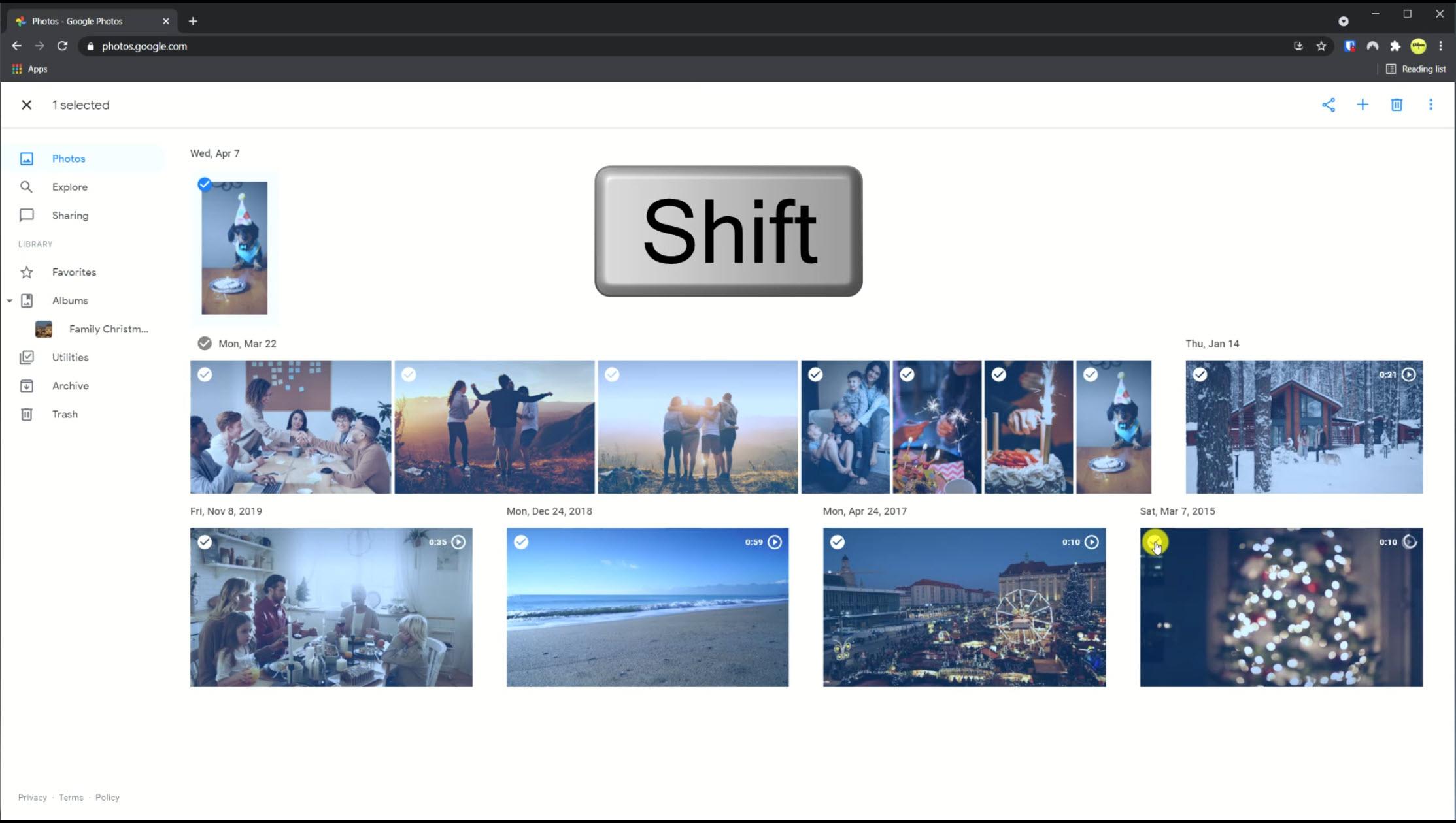 selecting photos in the Google photos app on desktop