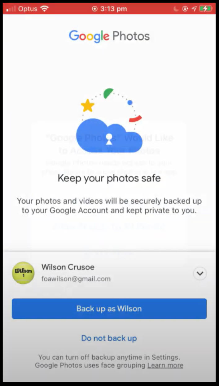 imaging showing how to sign into Google Photos app