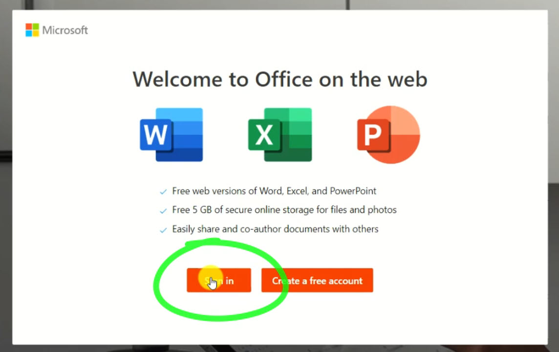 sign into the free office app on windows