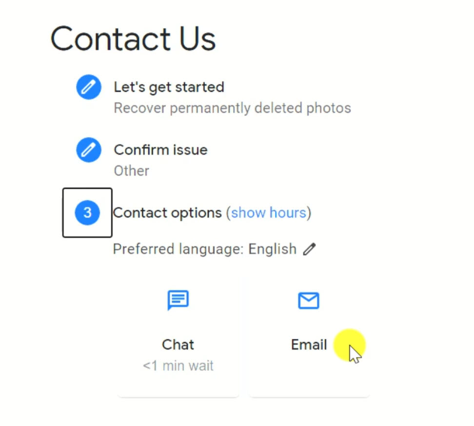 the google support contact webpage