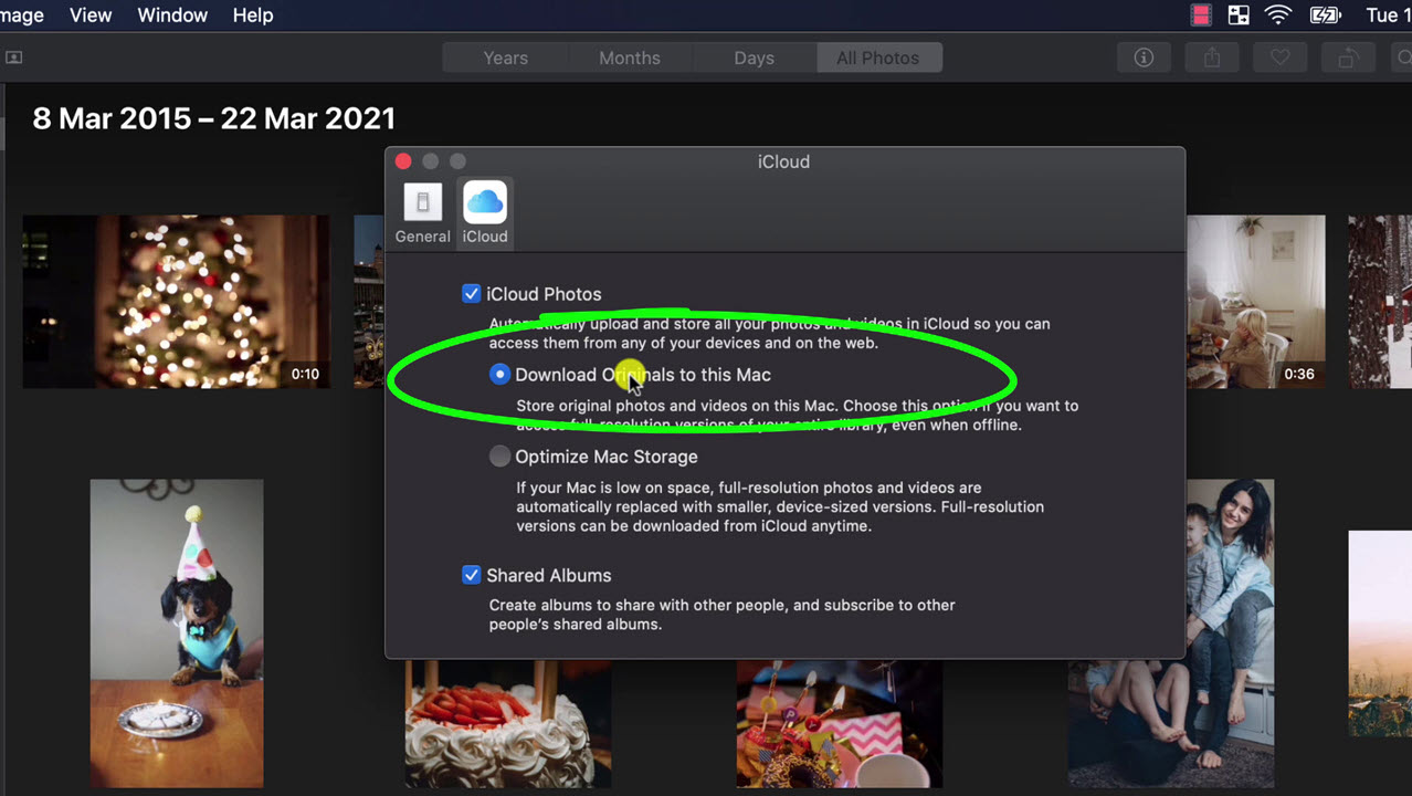 the option to download iCloud photos to Photos app on mac