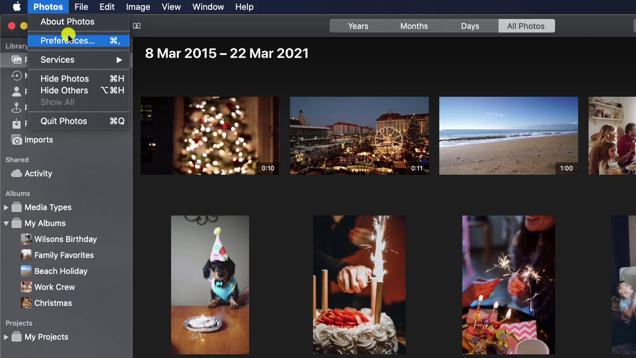 the preferences menu option in Photos app on Mac
