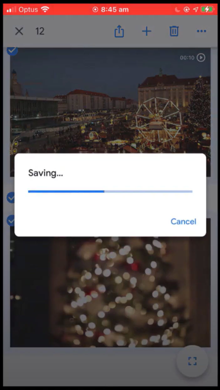 image of photos being transferred from google photos to iphone
