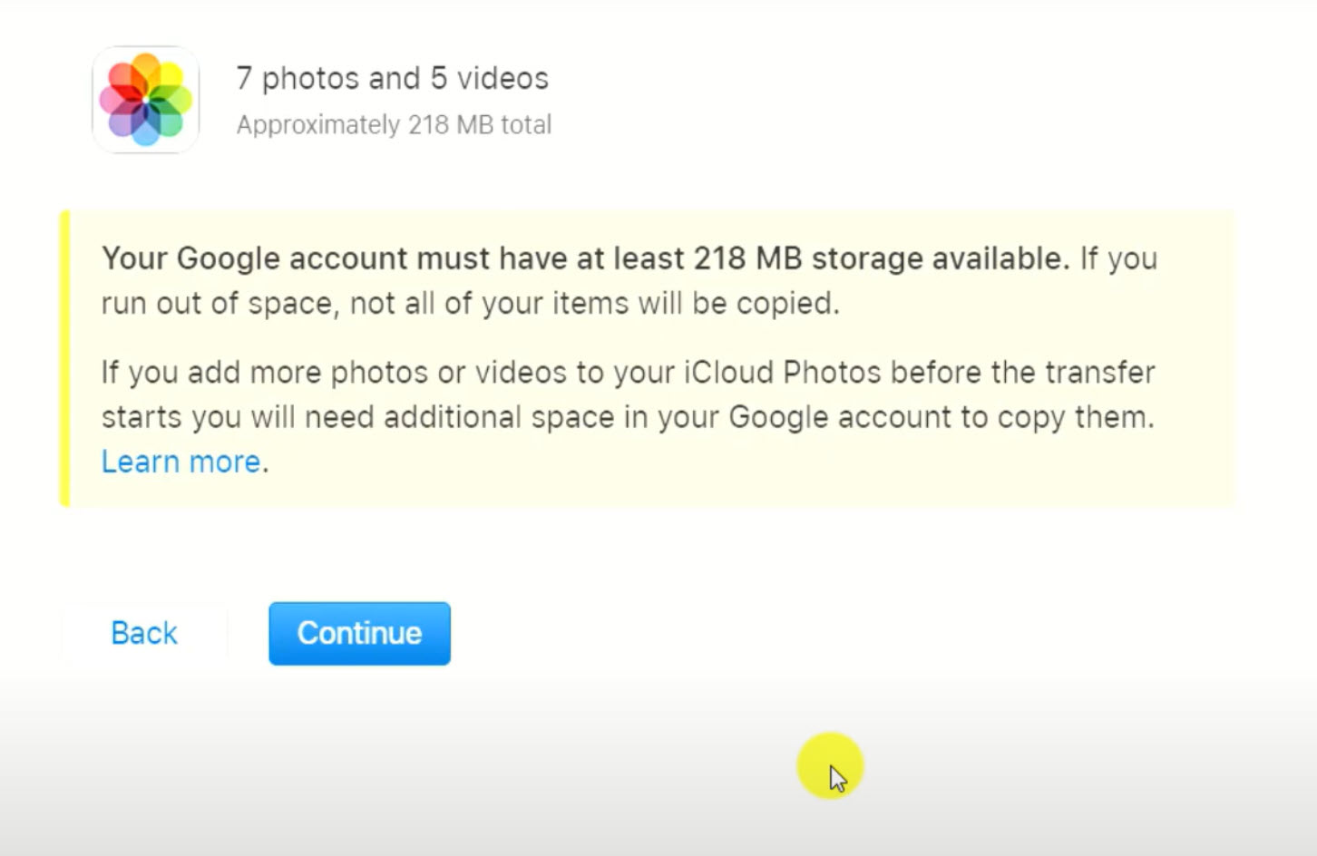 warning messaging confirming storage availability on Google photos
