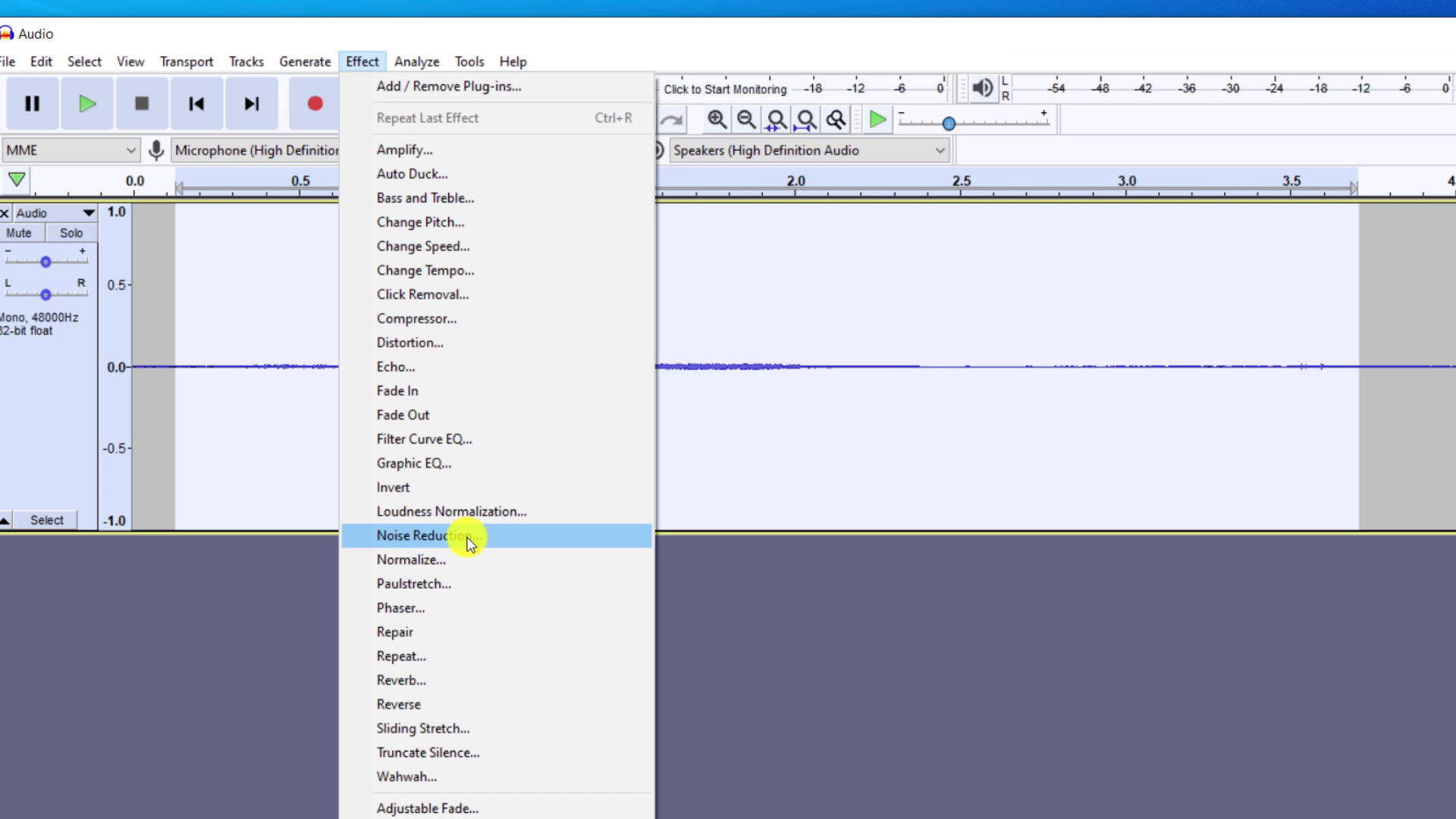 Noise Reduction in the Audacity Effects menu