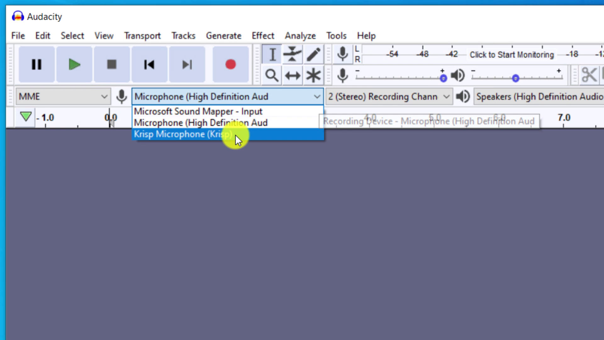 Use Krisp to reduce noise when recording audio in Audacity