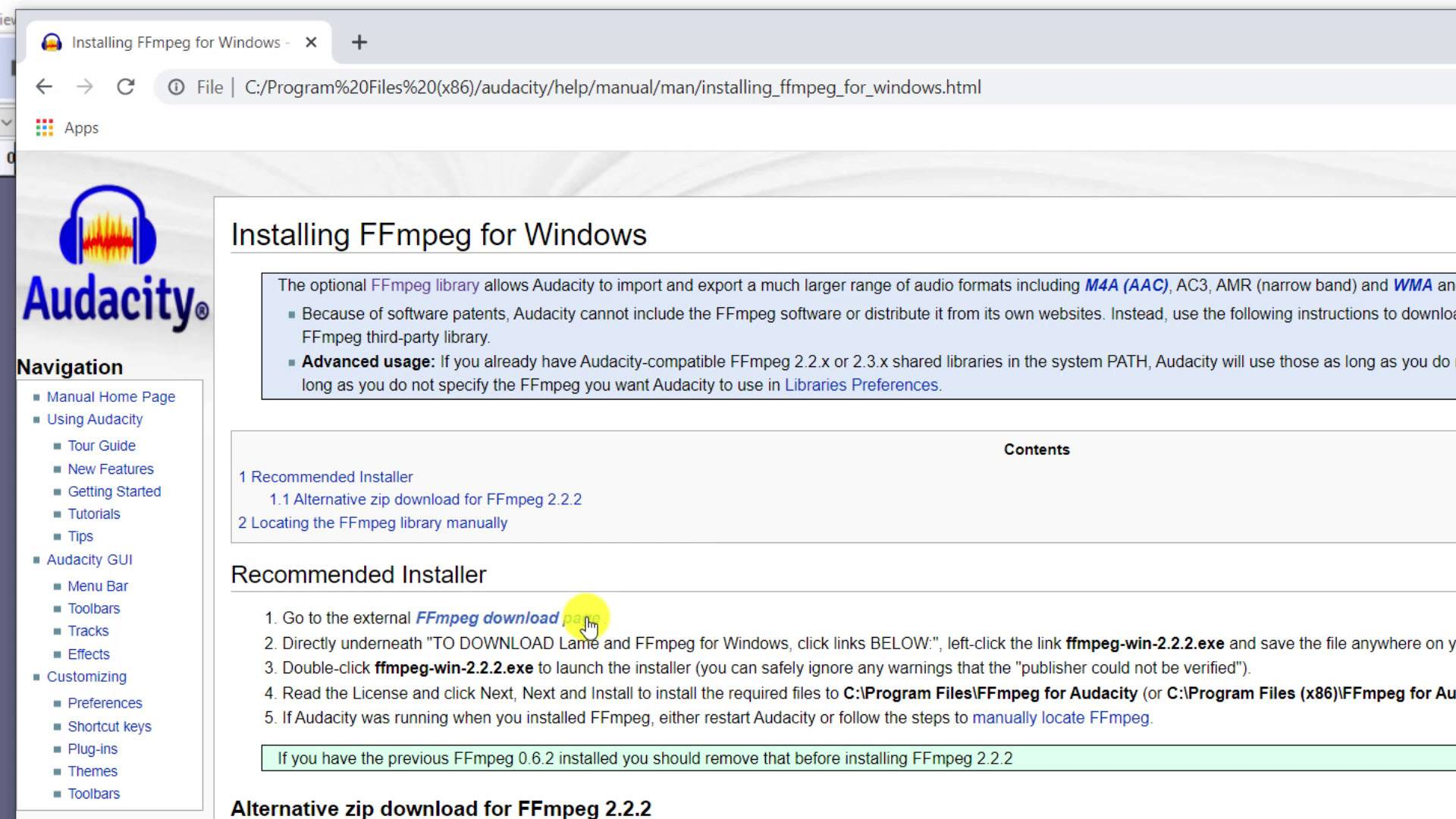 03-ffmpeg link for windows on audacity webpages