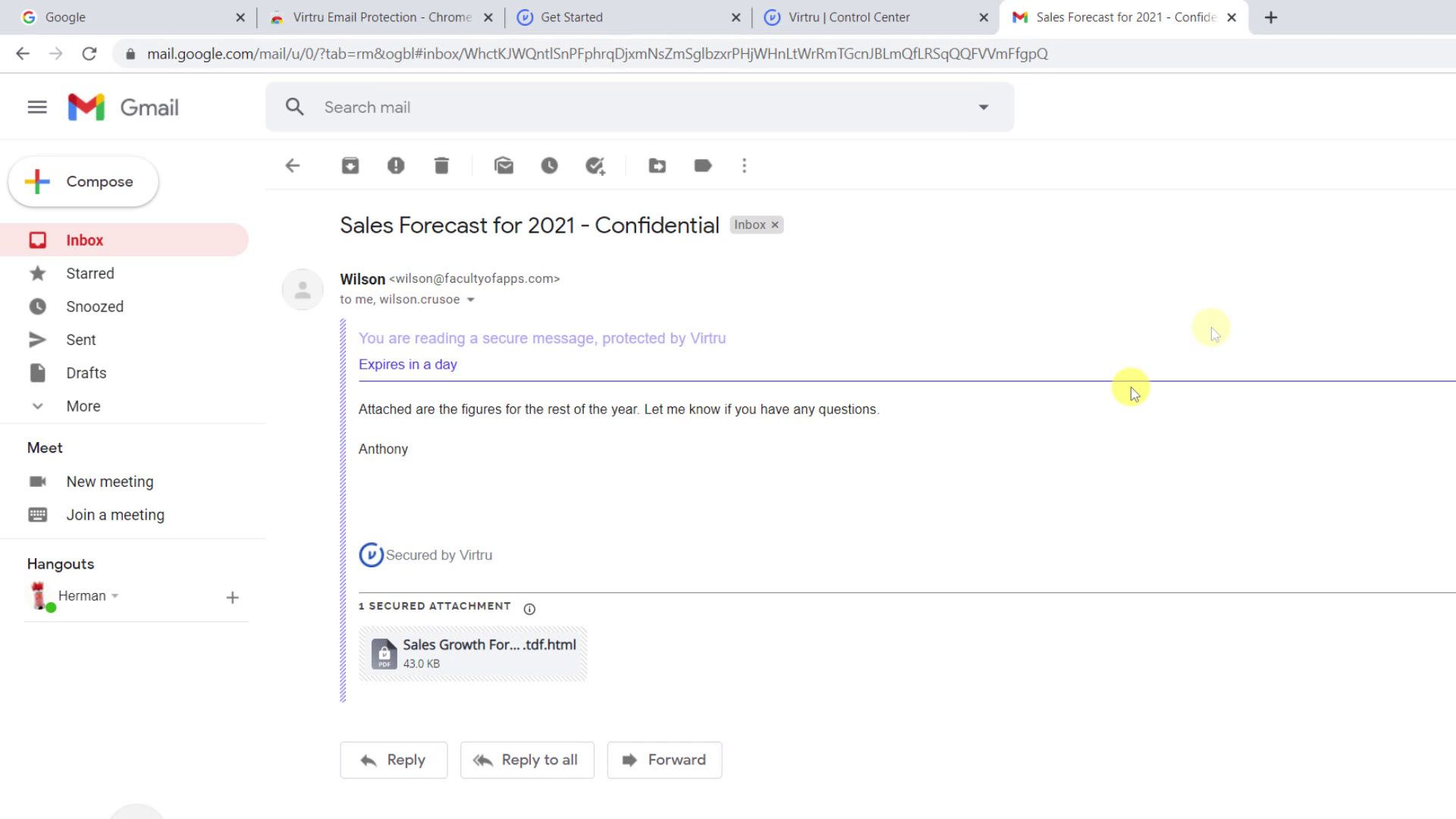 Receiving a Virtru encrypted email in Gmail