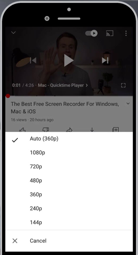 Set the specific resolution of video in YouTubes mobile app