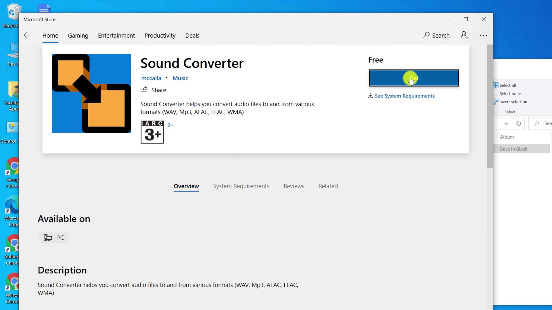 Sound Converter app page on the Microsoft app store