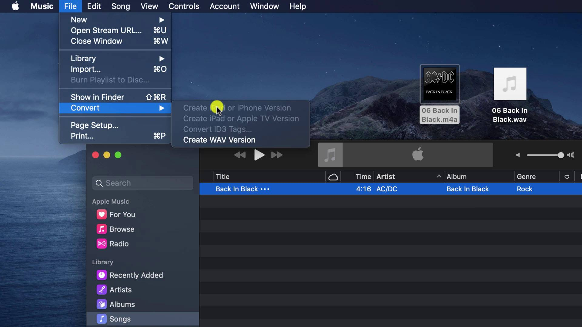 The create a wav version menu option in apple music