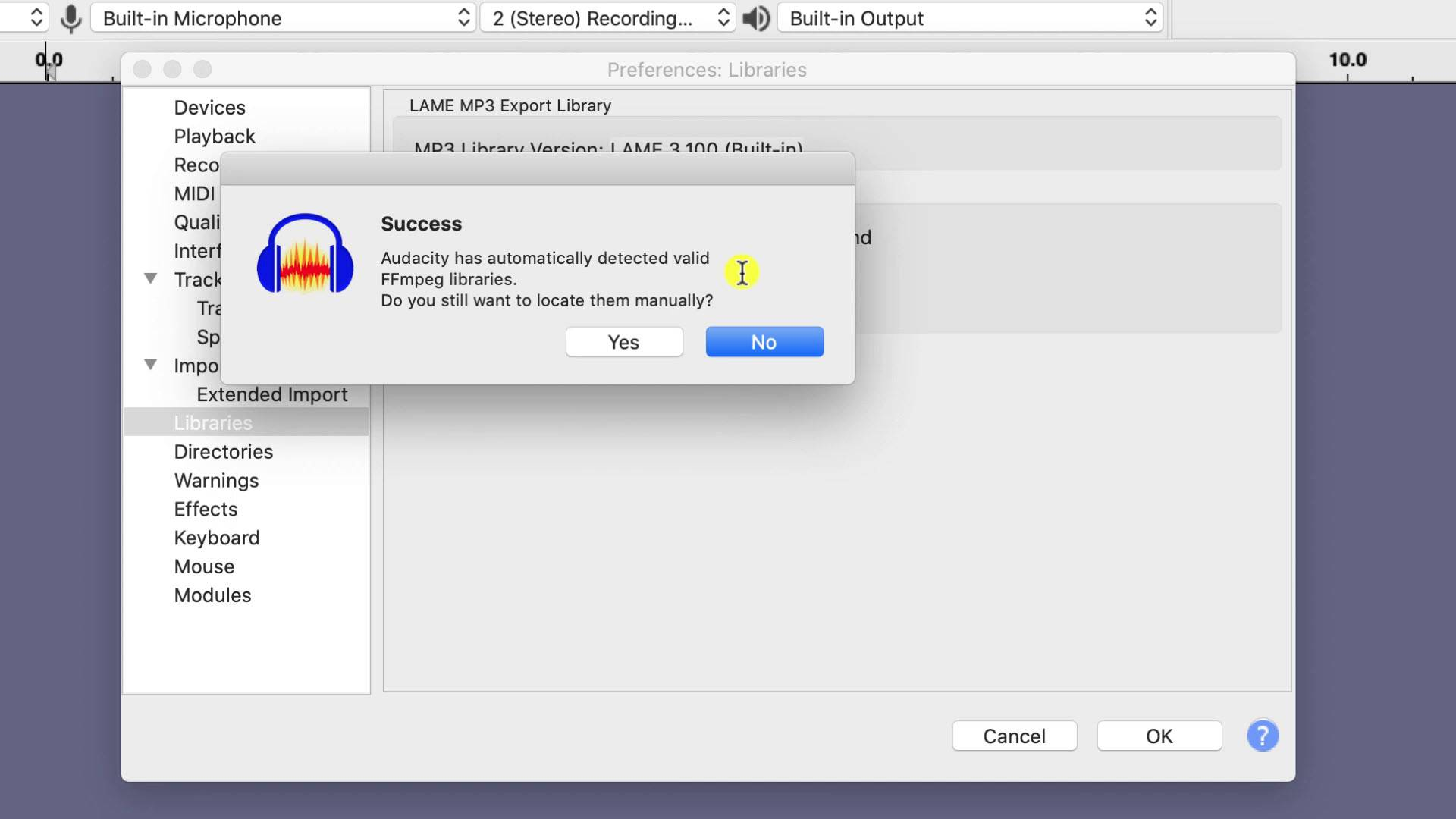 successfully imported the ffmpeg libraries into audacity on mac