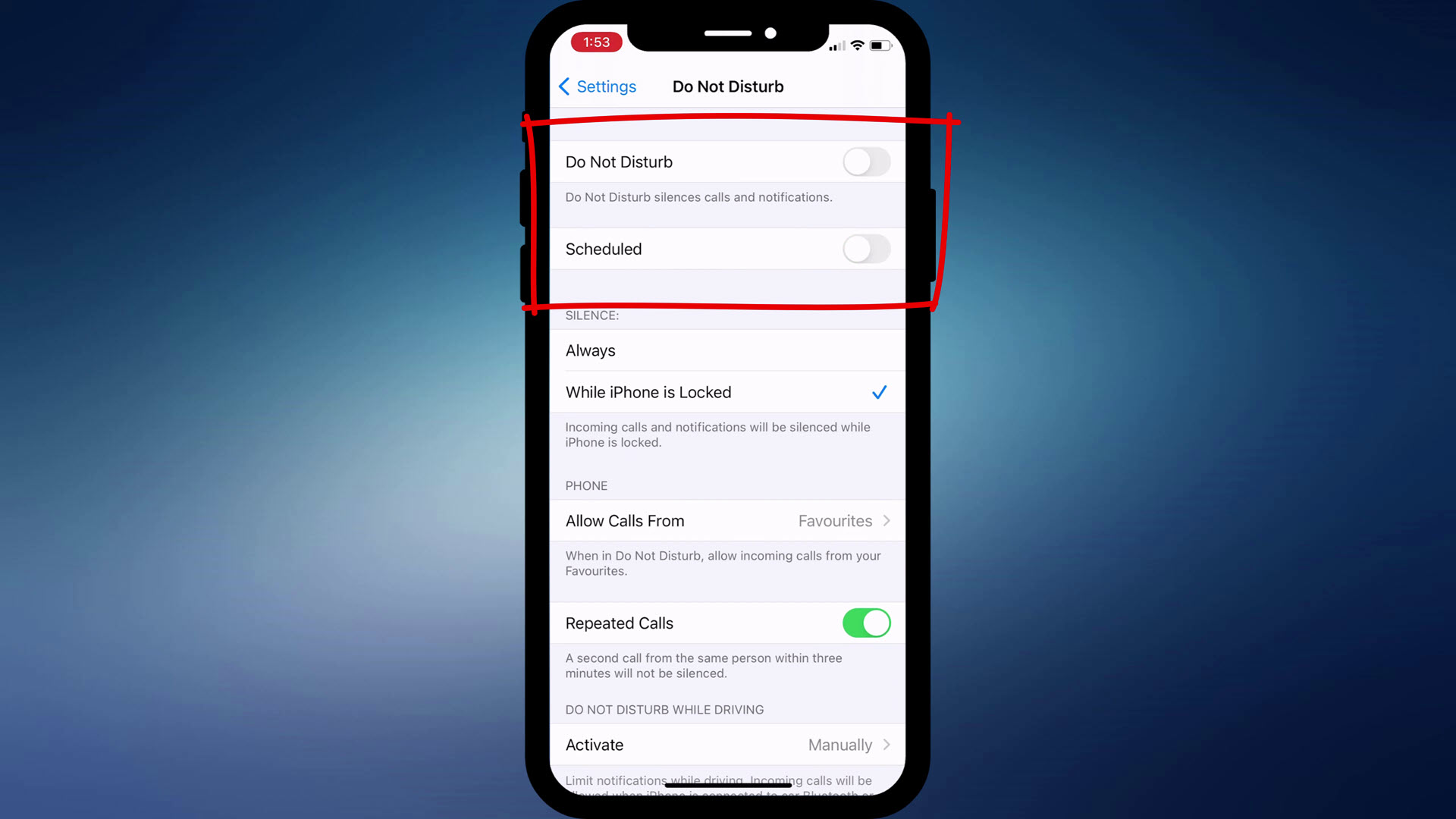 Do Not Disturb settings on iPhone