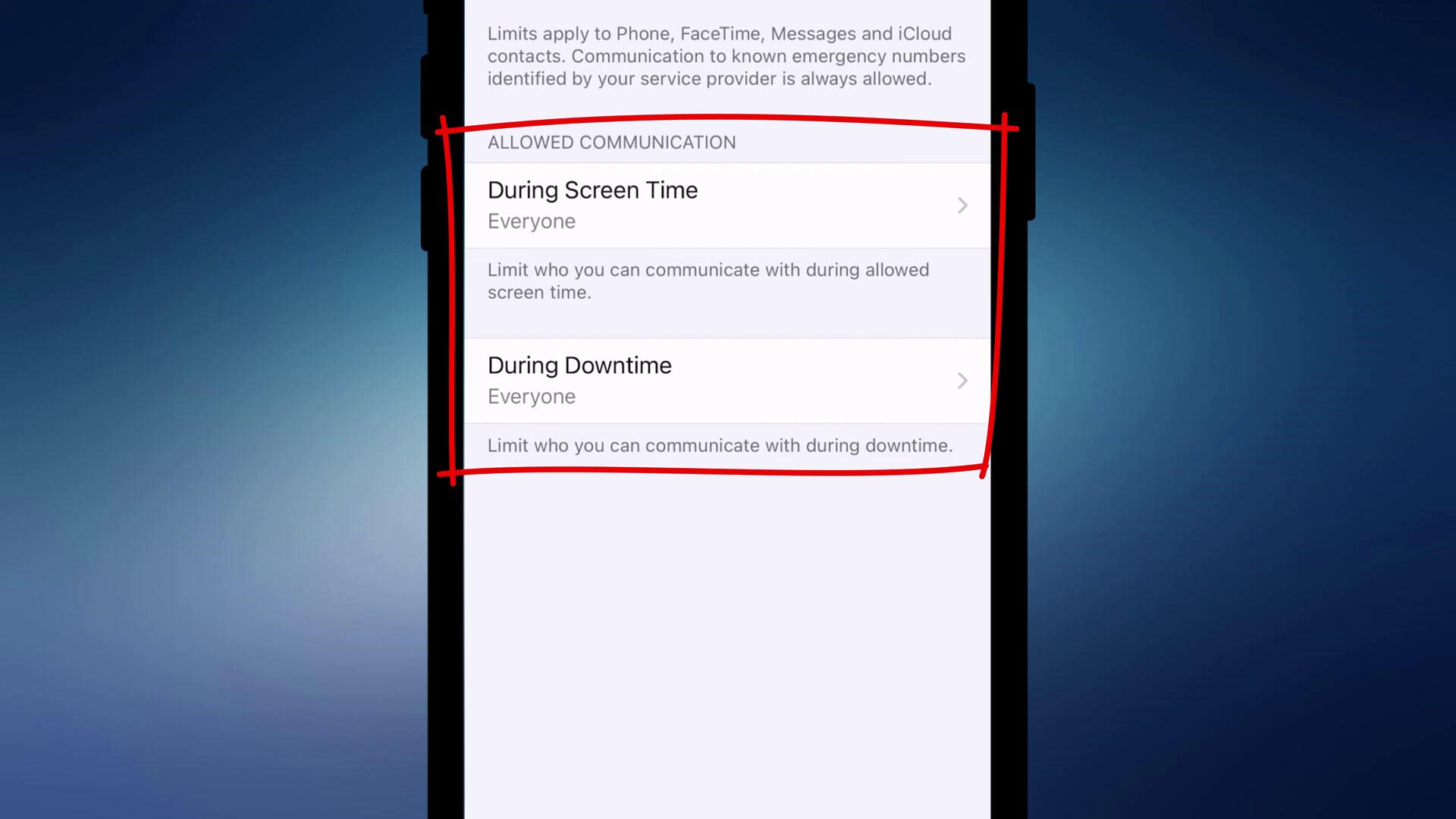 Screen Time settings on iPhone