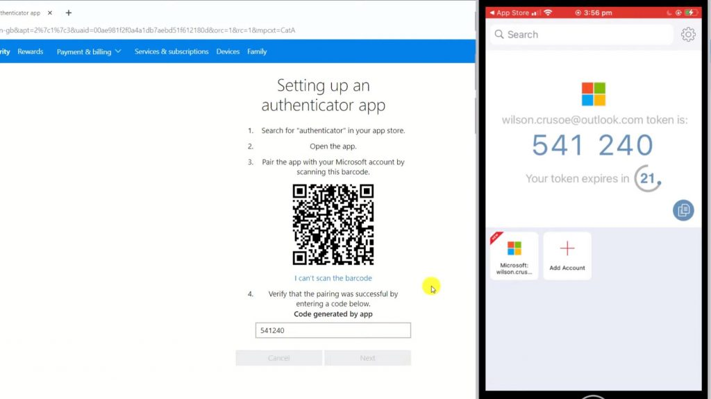 Sample of linking Authy to Microsoft account.