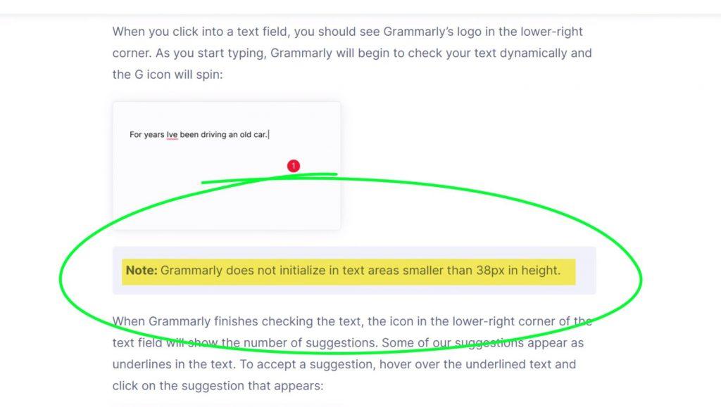 Grammarly 38 pixel rule