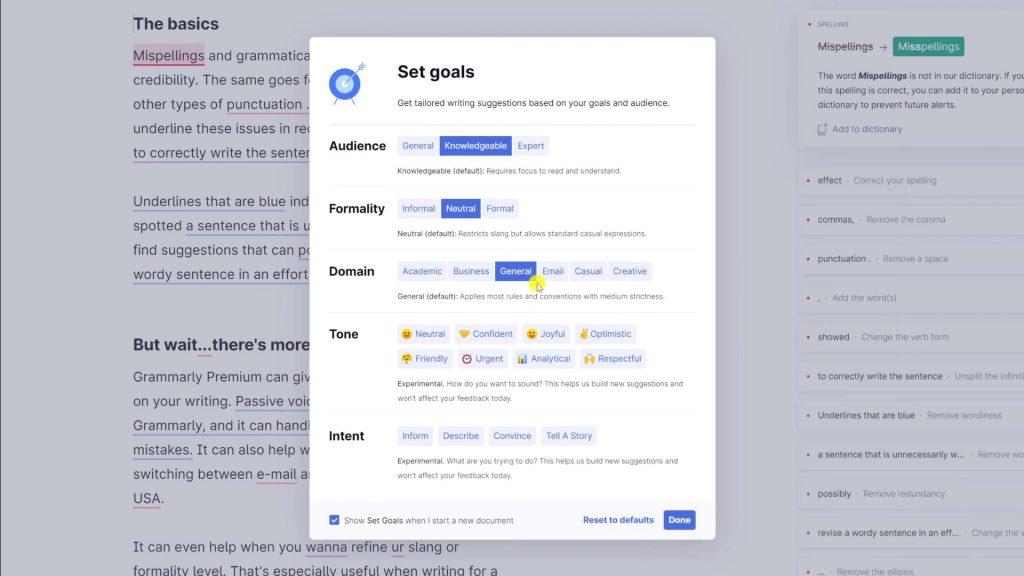 Grammarly set goals feature