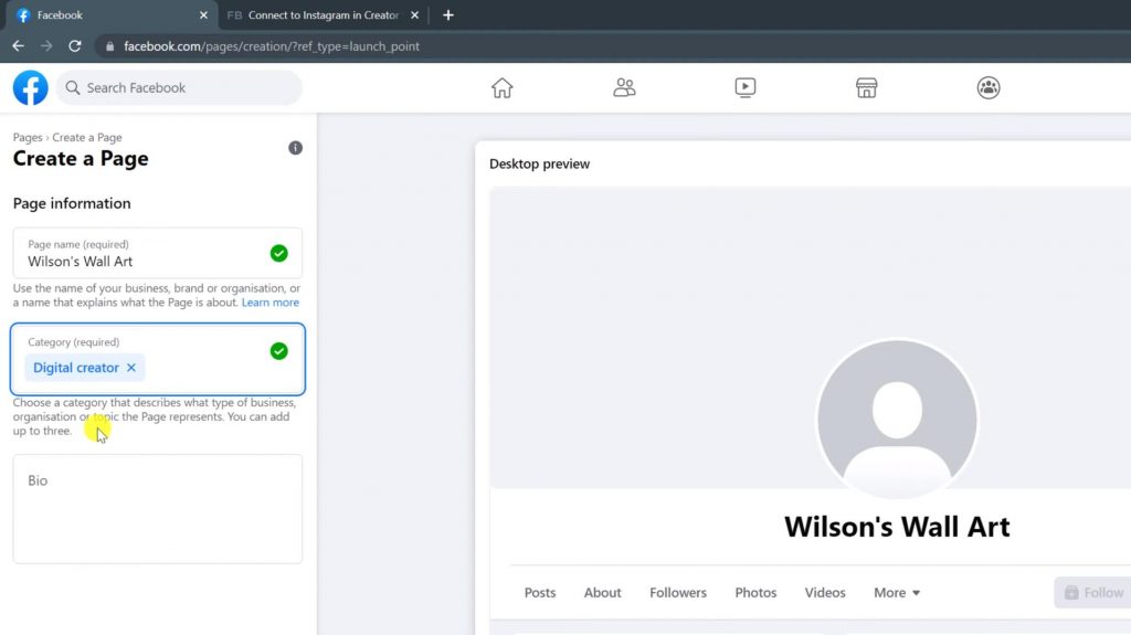Show Create a facebook page