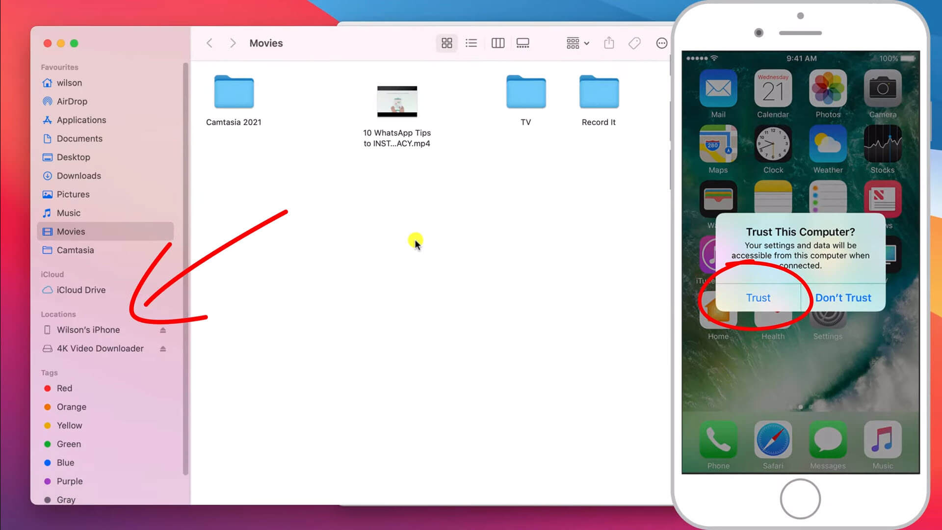 iphone connected to mac in finder window
