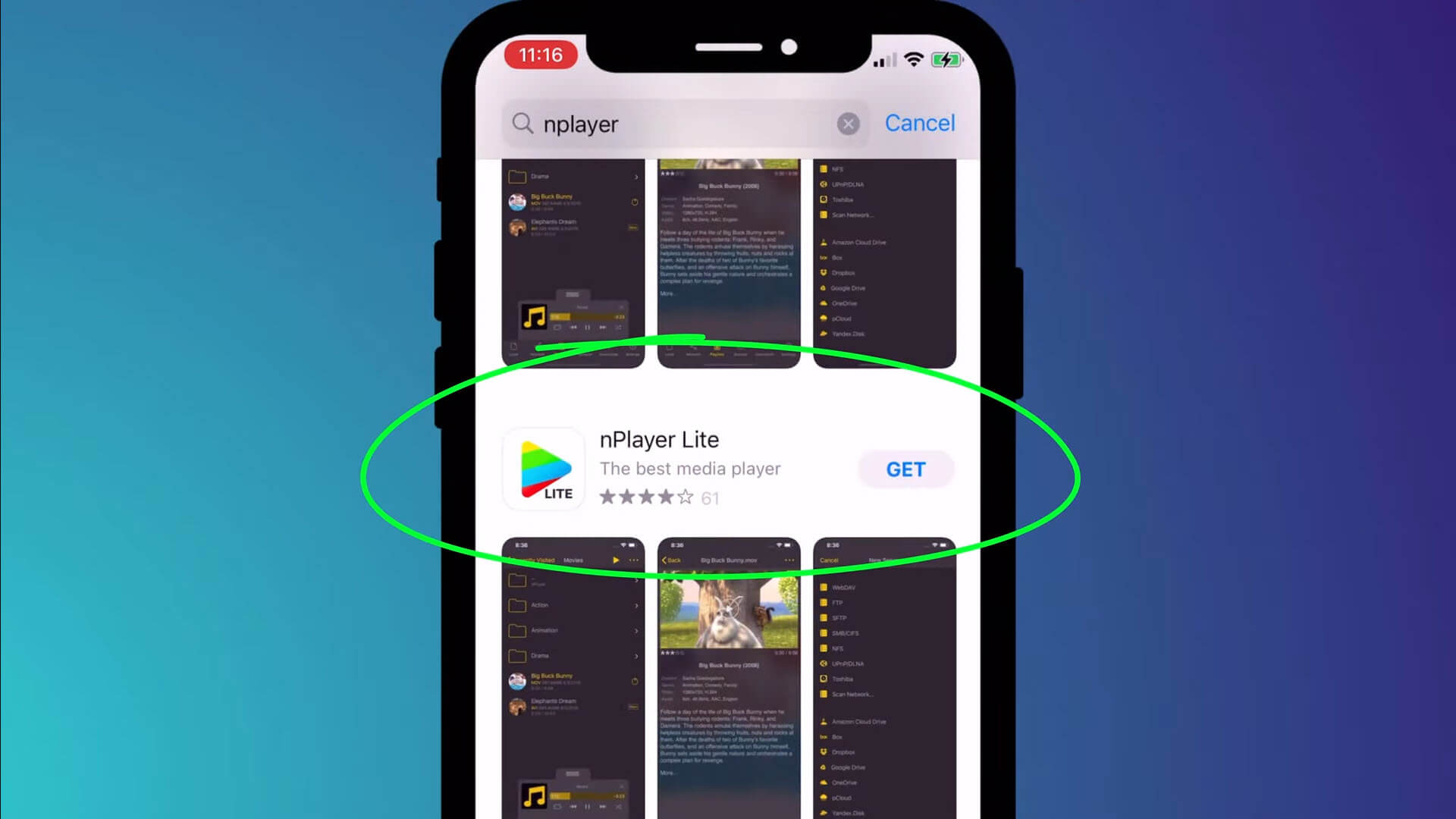 nPlayer Lite in the app store