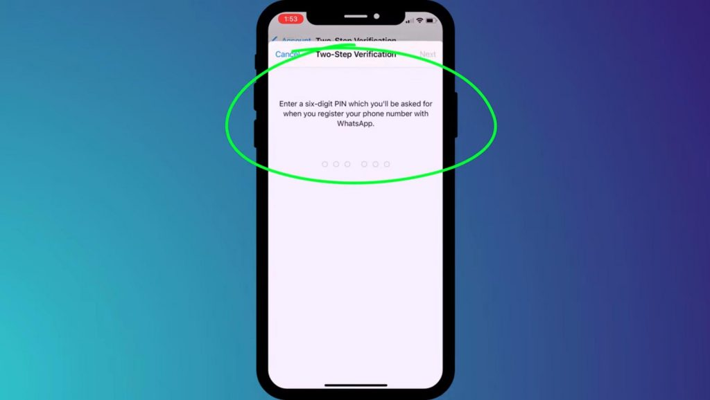 Shows settings to enable two factor authentication in WhatsApp