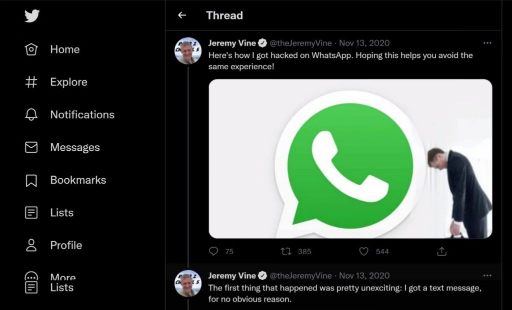Shows tweet of English TV presenter about his WhatsApp account getting hacked.