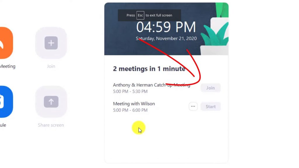 Show two scheduled meetings in Zoom