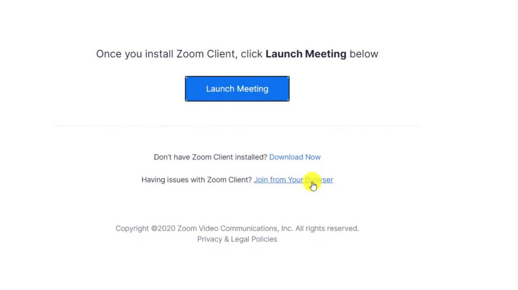 Option to join Zoom from your browser