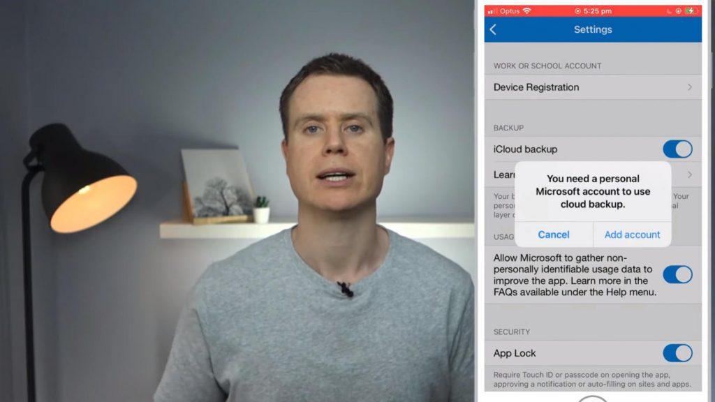Microsoft Authenticator iDrive backup