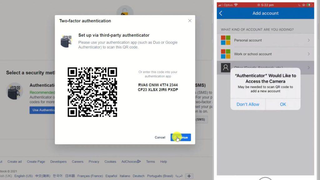 QR Code for Microsoft Authenticator