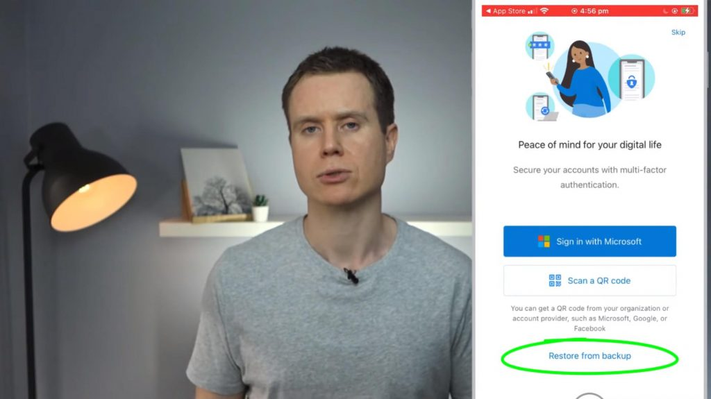 Microsoft Authenticator restore from backup